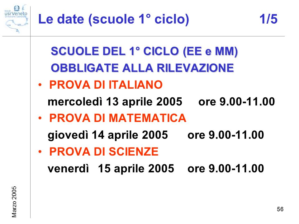 Marzo 2005 56 Le date (scuole 1° ciclo) 1/5 SCUOLE DEL 1° CICLO (EE e MM) OBBLIGATE ALLA RILEVAZIONE OBBLIGATE ALLA RILEVAZIONE PROVA DI ITALIANO merc