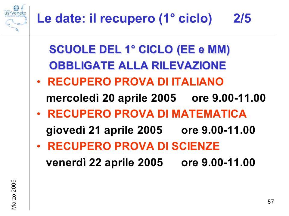 Marzo 2005 57 Le date: il recupero (1° ciclo) 2/5 SCUOLE DEL 1° CICLO (EE e MM) OBBLIGATE ALLA RILEVAZIONE OBBLIGATE ALLA RILEVAZIONE RECUPERO PROVA D