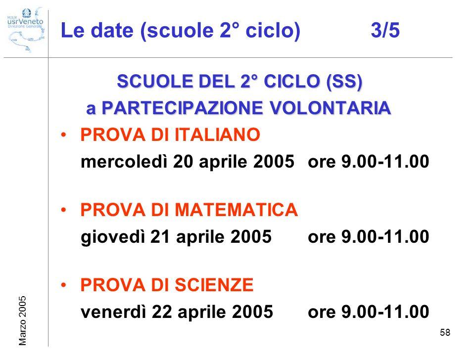 Marzo 2005 59 Le date: il recupero (2° ciclo) 4/5 SCUOLE DEL 2° CICLO (SS) SCUOLE DEL 2° CICLO (SS) a PARTECIPAZIONE VOLONTARIA a PARTECIPAZIONE VOLONTARIA RECUPERO PROVA DI ITALIANO mercoledì 27 aprile 2005ore 9.00-11.00 RECUPERO PROVA DI MATEMATICA giovedì 28 aprile 2005ore 9.00-11.00 RECUPERO PROVA DI SCIENZE venerdì 29 aprile 2005ore 9.00-11.00