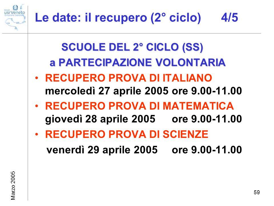 Marzo 2005 59 Le date: il recupero (2° ciclo) 4/5 SCUOLE DEL 2° CICLO (SS) SCUOLE DEL 2° CICLO (SS) a PARTECIPAZIONE VOLONTARIA a PARTECIPAZIONE VOLON