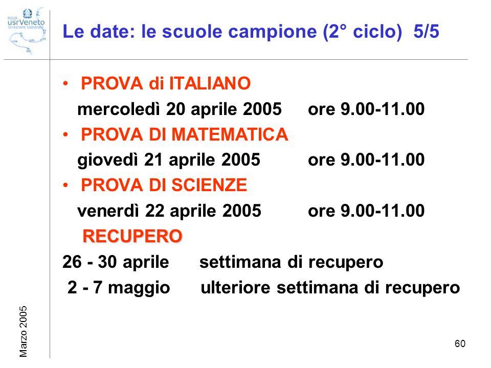 Marzo 2005 60 Le date: le scuole campione (2° ciclo) 5/5 PROVA di ITALIANO mercoledì 20 aprile 2005 ore 9.00-11.00 PROVA DI MATEMATICA giovedì 21 apri