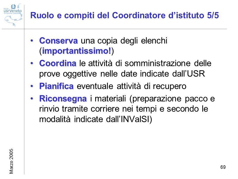 Marzo 2005 69 Ruolo e compiti del Coordinatore distituto 5/5 Conserva importantissimo!Conserva una copia degli elenchi (importantissimo!) CoordinaCoor
