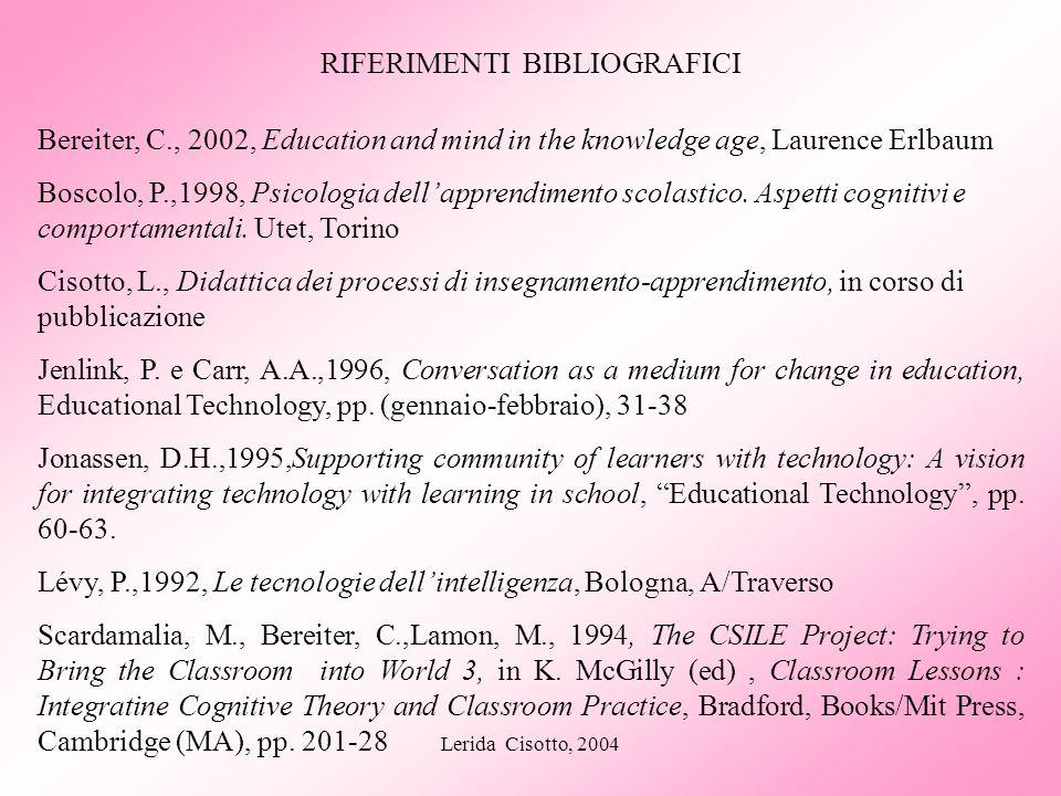 Lerida Cisotto, 2004 RIFERIMENTI BIBLIOGRAFICI Bereiter, C., 2002, Education and mind in the knowledge age, Laurence Erlbaum Boscolo, P.,1998, Psicolo