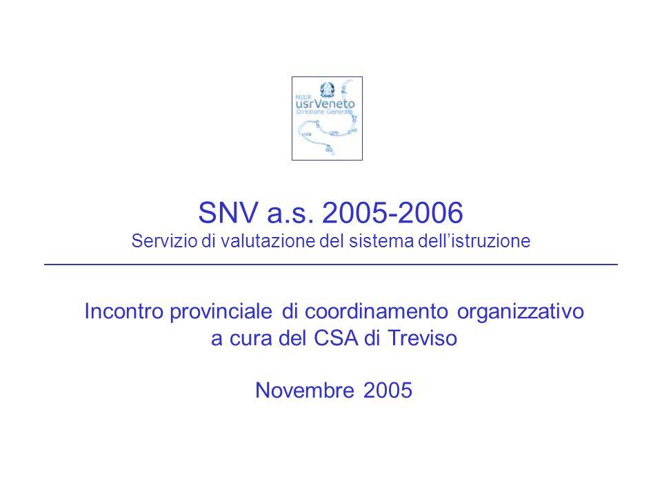 SNV a.s. 2005-2006 Servizio di valutazione del sistema dellistruzione Incontro provinciale di coordinamento organizzativo a cura del CSA di Treviso No