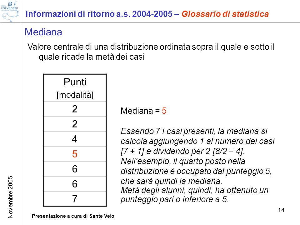 Novembre 2005 Presentazione a cura di Sante Velo 14 Informazioni di ritorno a.s. 2004-2005 – Glossario di statistica Mediana Valore centrale di una di
