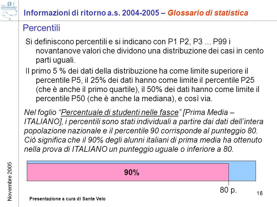 Novembre 2005 Presentazione a cura di Sante Velo 16 Informazioni di ritorno a.s. 2004-2005 – Glossario di statistica Percentili Si definiscono percent