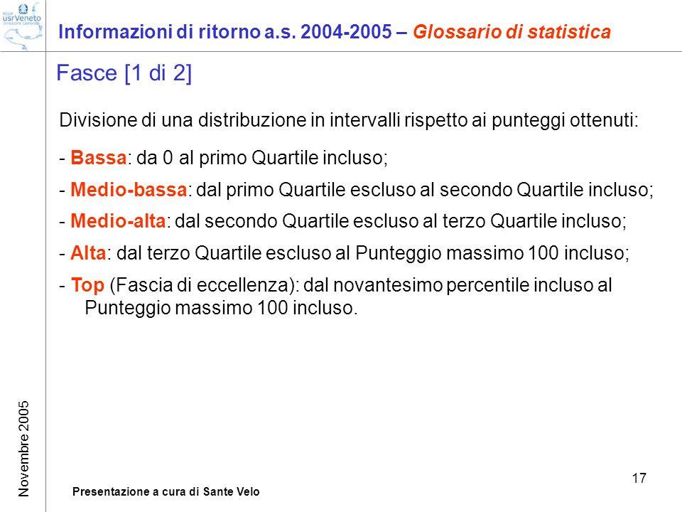 Novembre 2005 Presentazione a cura di Sante Velo 17 Informazioni di ritorno a.s. 2004-2005 – Glossario di statistica Fasce [1 di 2] Divisione di una d