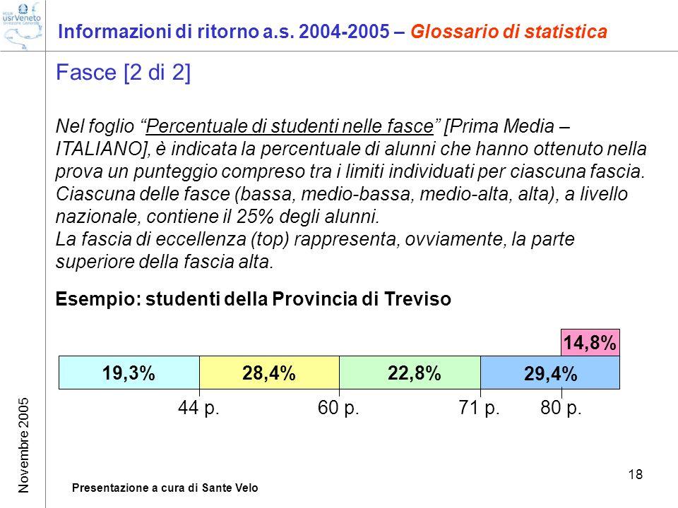 Novembre 2005 Presentazione a cura di Sante Velo 18 Informazioni di ritorno a.s. 2004-2005 – Glossario di statistica Fasce [2 di 2] Nel foglio Percent