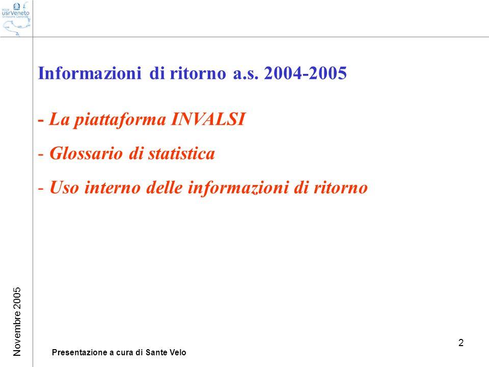 Presentazione a cura di Sante Velo 2 Informazioni di ritorno a.s. 2004-2005 - La piattaforma INVALSI - Glossario di statistica - Uso interno delle inf