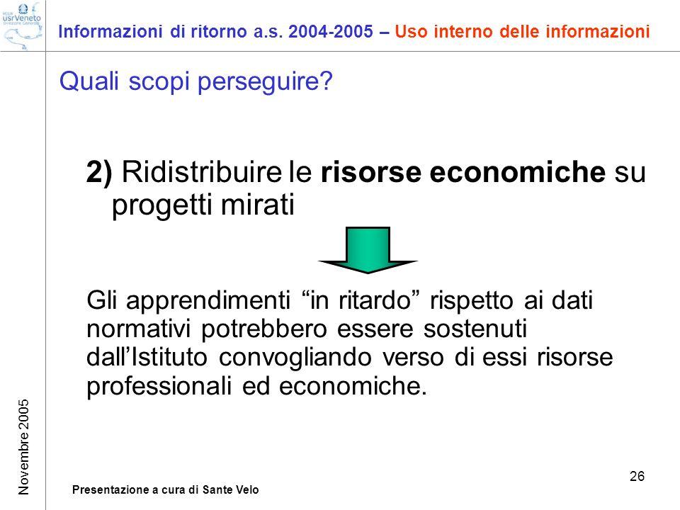 Novembre 2005 Presentazione a cura di Sante Velo 26 Informazioni di ritorno a.s. 2004-2005 – Uso interno delle informazioni Quali scopi perseguire? 2)