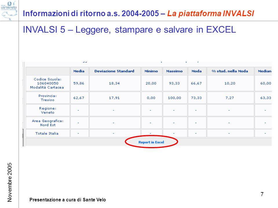 Novembre 2005 Presentazione a cura di Sante Velo 7 Informazioni di ritorno a.s. 2004-2005 – La piattaforma INVALSI INVALSI 5 – Leggere, stampare e sal