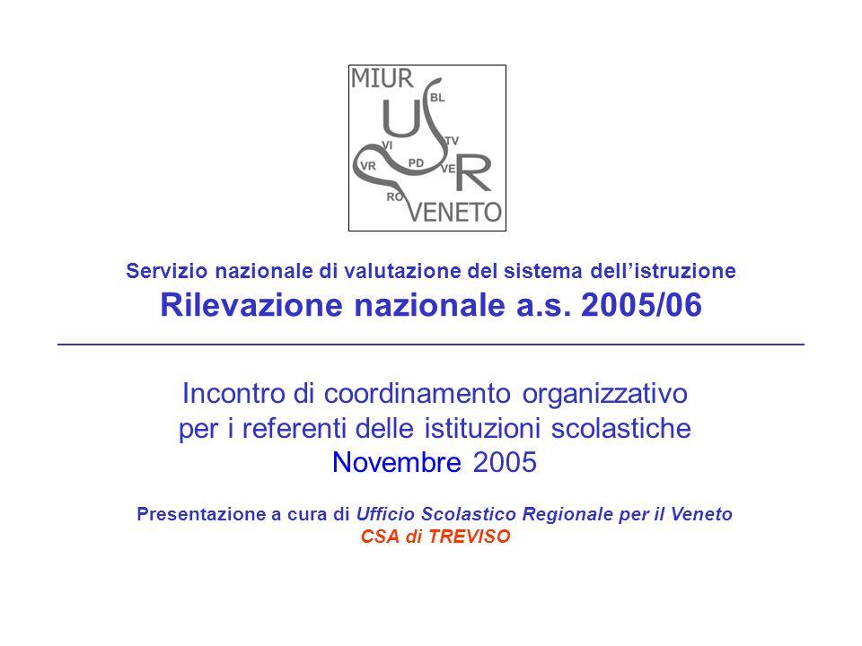 Servizio nazionale di valutazione del sistema dellistruzione Rilevazione nazionale a.s. 2005/06 Incontro di coordinamento organizzativo per i referent