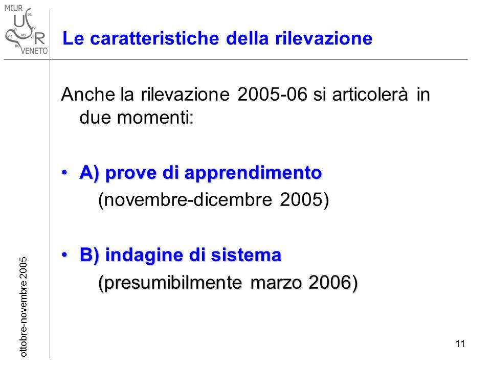 ottobre-novembre 2005 11 Le caratteristiche della rilevazione Anche la rilevazione 2005-06 si articolerà in due momenti: A) prove di apprendimentoA) prove di apprendimento (novembre-dicembre 2005) B) indagine di sistemaB) indagine di sistema (presumibilmente marzo 2006) (presumibilmente marzo 2006)