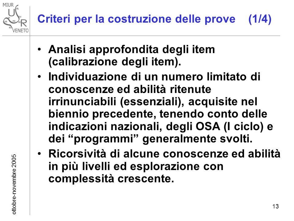ottobre-novembre 2005 13 Criteri per la costruzione delle prove (1/4) Analisi approfondita degli item (calibrazione degli item). Individuazione di un