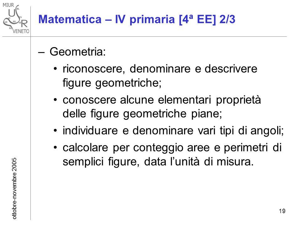 ottobre-novembre 2005 19 Matematica – IV primaria [4ª EE] 2/3 –Geometria: riconoscere, denominare e descrivere figure geometriche; conoscere alcune el