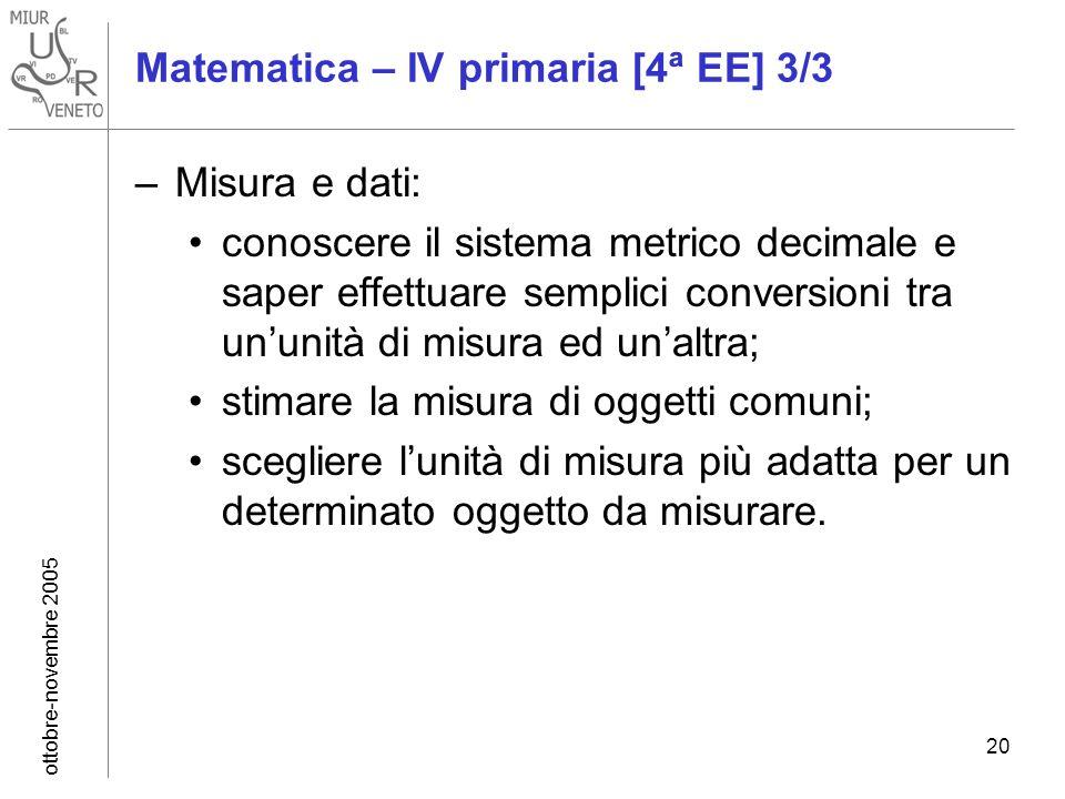 ottobre-novembre 2005 20 Matematica – IV primaria [4ª EE] 3/3 –Misura e dati: conoscere il sistema metrico decimale e saper effettuare semplici conver