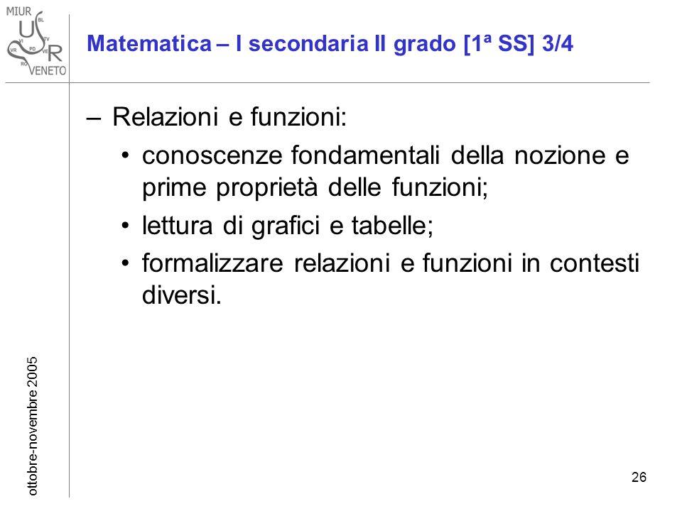 ottobre-novembre 2005 26 Matematica – I secondaria II grado [1ª SS] 3/4 –Relazioni e funzioni: conoscenze fondamentali della nozione e prime proprietà