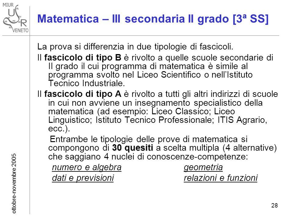 ottobre-novembre 2005 28 Matematica – III secondaria II grado [3ª SS] La prova si differenzia in due tipologie di fascicoli.