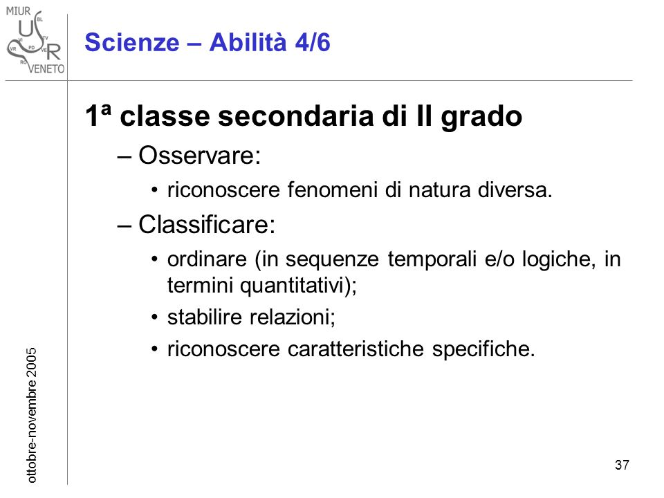 ottobre-novembre 2005 37 Scienze – Abilità 4/6 1ª classe secondaria di II grado –Osservare: riconoscere fenomeni di natura diversa. –Classificare: ord