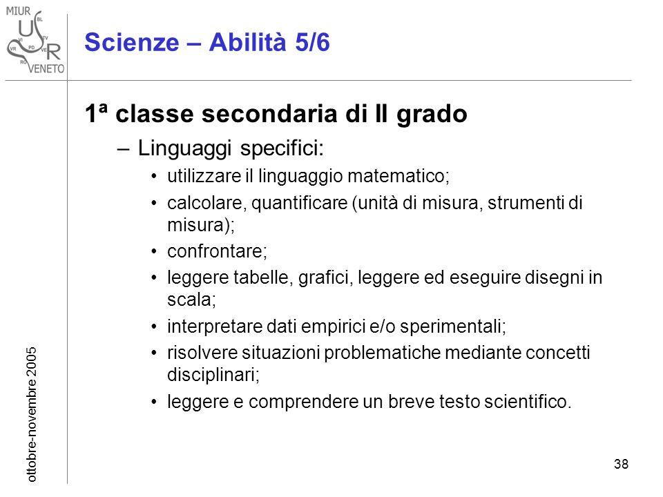 ottobre-novembre 2005 38 Scienze – Abilità 5/6 1ª classe secondaria di II grado –Linguaggi specifici: utilizzare il linguaggio matematico; calcolare,