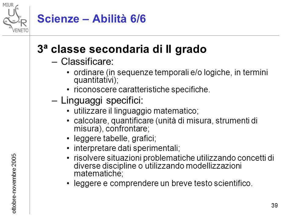 ottobre-novembre 2005 39 Scienze – Abilità 6/6 3ª classe secondaria di II grado –Classificare: ordinare (in sequenze temporali e/o logiche, in termini quantitativi); riconoscere caratteristiche specifiche.