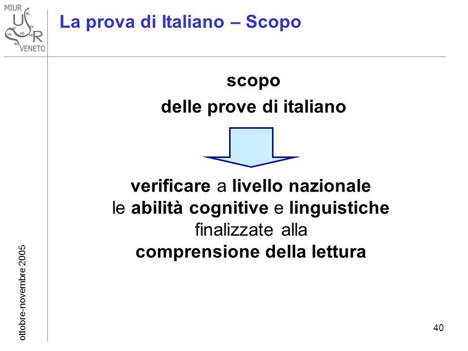 ottobre-novembre 2005 40 La prova di Italiano – Scopo scopo delle prove di italiano La prova di Italiano – Scopo verificare a livello nazionale le abilità cognitive e linguistiche finalizzate alla comprensione della lettura