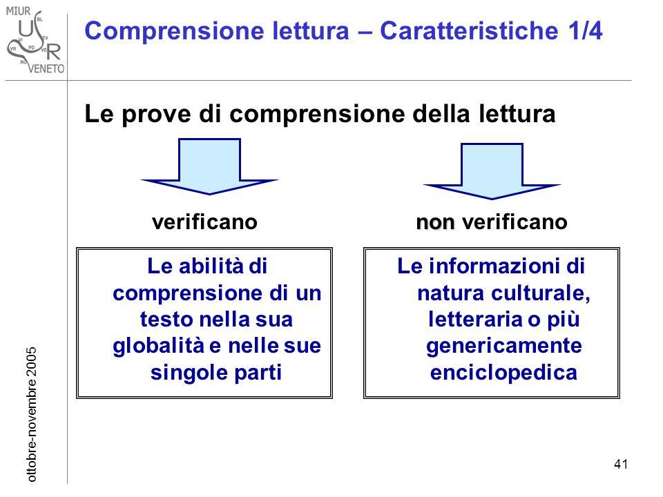 ottobre-novembre 2005 41 Comprensione lettura – Caratteristiche 1/4 Le prove di comprensione della lettura Comprensione lettura – Caratteristiche 1/4