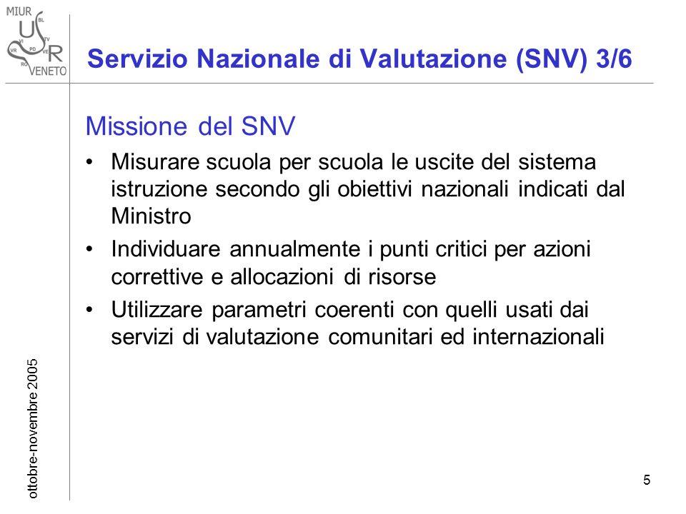 ottobre-novembre 2005 5 Servizio Nazionale di Valutazione (SNV) 3/6 Missione del SNV Misurare scuola per scuola le uscite del sistema istruzione secon