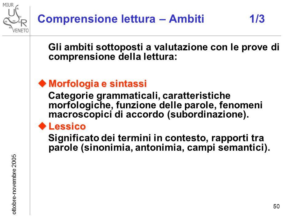ottobre-novembre 2005 50 Comprensione lettura – Ambiti 1/3 Gli ambiti sottoposti a valutazione con le prove di comprensione della lettura: Morfologia