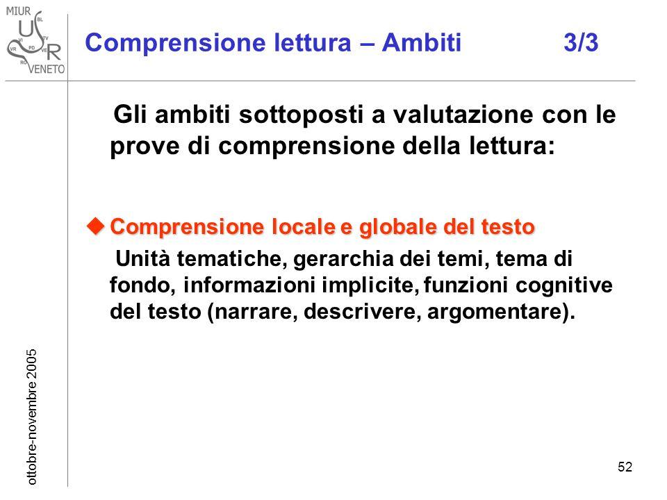ottobre-novembre 2005 52 Comprensione lettura – Ambiti 3/3 Gli ambiti sottoposti a valutazione con le prove di comprensione della lettura: Comprension