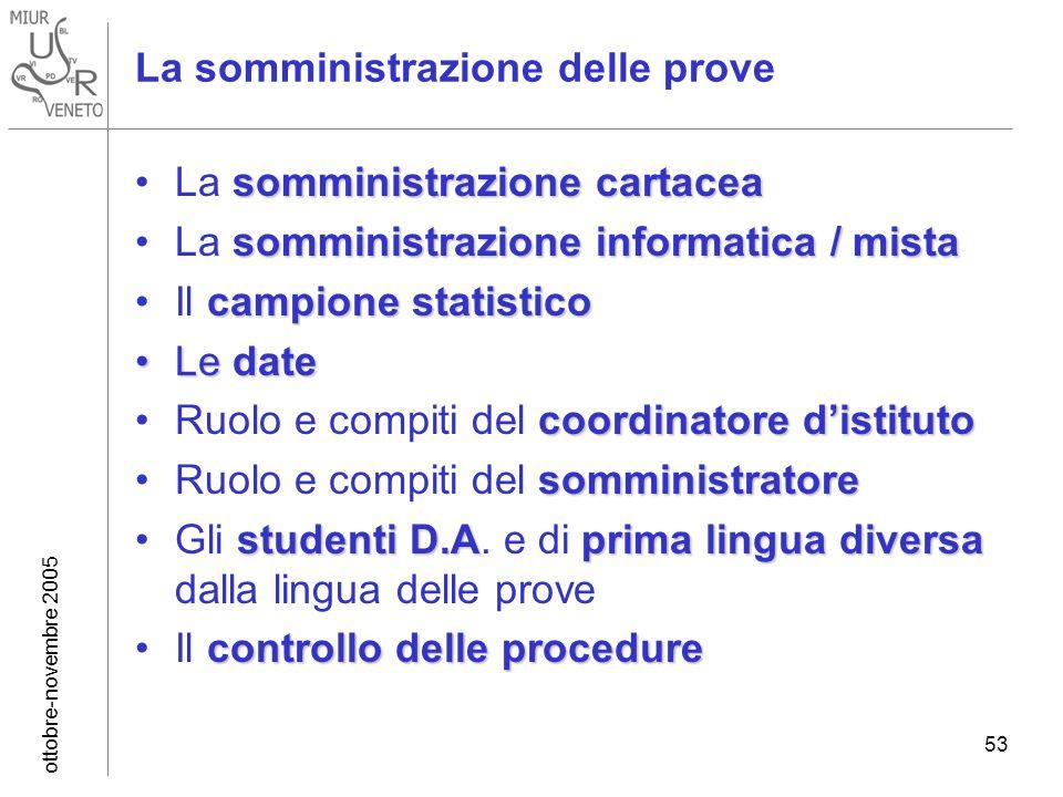 ottobre-novembre 2005 53 La somministrazione delle prove somministrazione cartaceaLa somministrazione cartacea somministrazione informatica / mistaLa