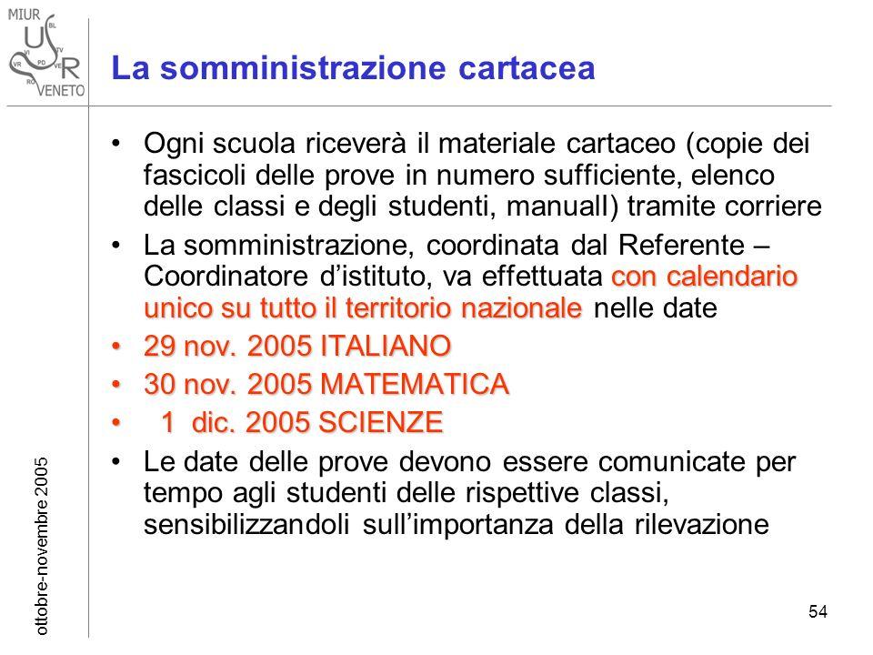 ottobre-novembre 2005 54 La somministrazione cartacea Ogni scuola riceverà il materiale cartaceo (copie dei fascicoli delle prove in numero sufficient