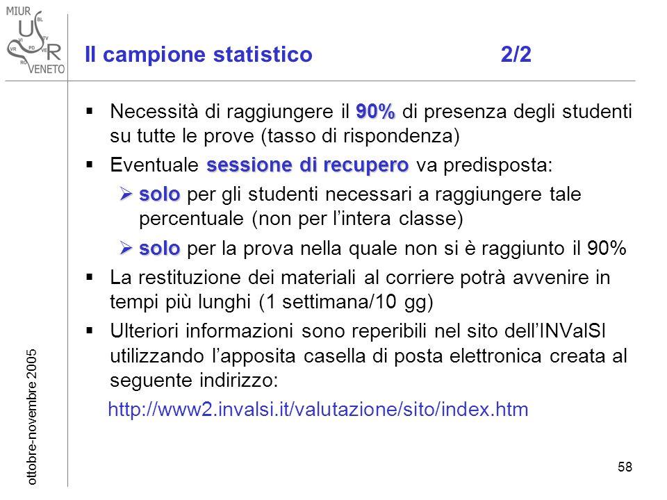 ottobre-novembre 2005 58 Il campione statistico 2/2 90% Necessità di raggiungere il 90% di presenza degli studenti su tutte le prove (tasso di rispond