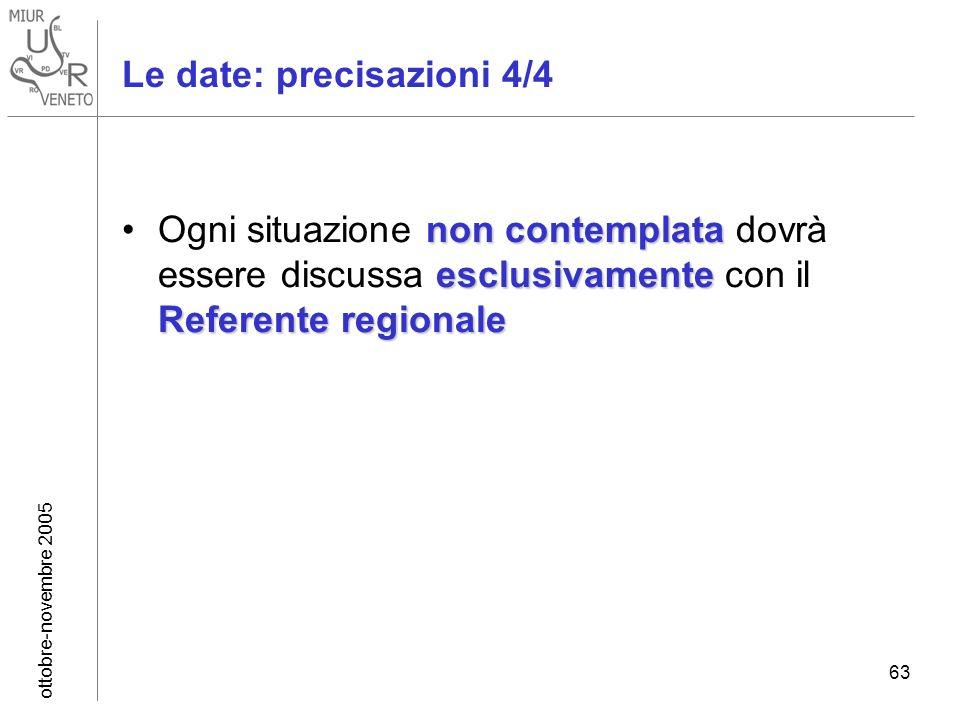ottobre-novembre 2005 63 non contemplata esclusivamente Referente regionaleOgni situazione non contemplata dovrà essere discussa esclusivamente con il Referente regionale Le date: precisazioni 4/4