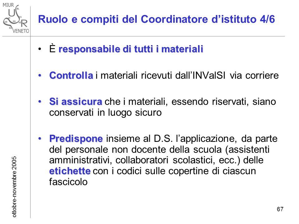 ottobre-novembre 2005 67 Ruolo e compiti del Coordinatore distituto 4/6 responsabile di tutti i materialiÈ responsabile di tutti i materiali Controlla