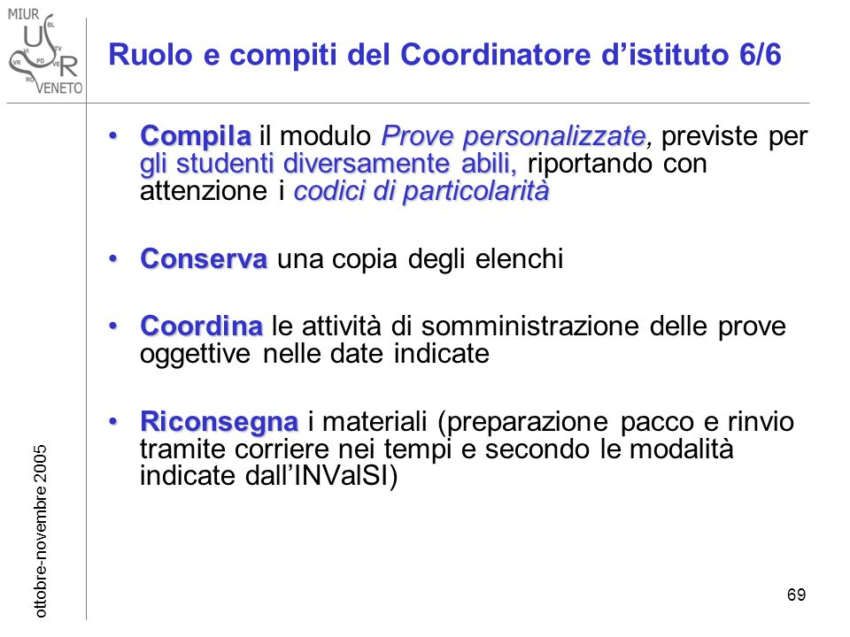 ottobre-novembre 2005 69 Ruolo e compiti del Coordinatore distituto 6/6 Compila Prove personalizzate gli studenti diversamente abili, codici di partic