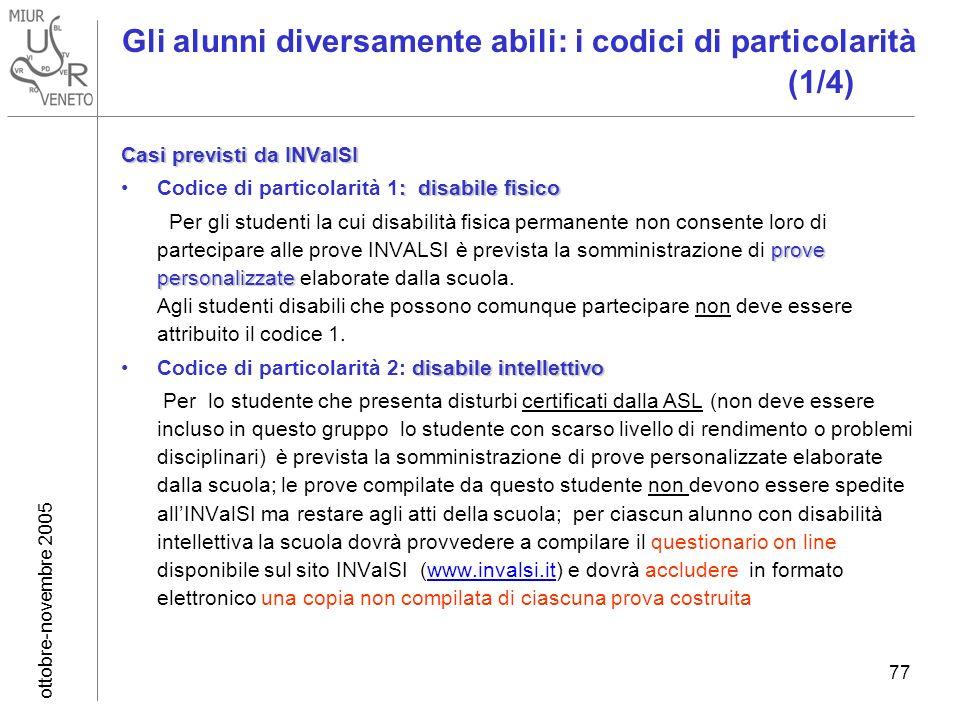ottobre-novembre 2005 77 Gli alunni diversamente abili: i codici di particolarità (1/4) Casi previsti da INValSI : disabile fisicoCodice di particolar