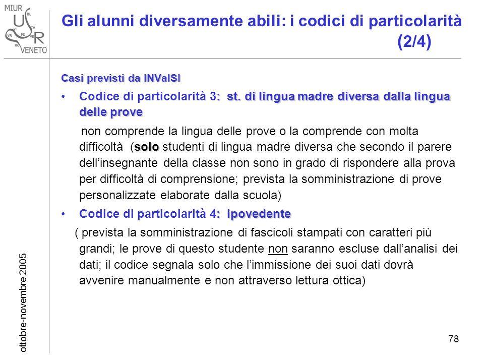 ottobre-novembre 2005 78 Gli alunni diversamente abili: i codici di particolarità ( 2/4 ) Casi previsti da INValSI : st.