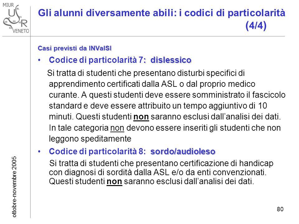 ottobre-novembre 2005 80 Gli alunni diversamente abili: i codici di particolarità ( 4/4 ) Casi previsti da INValSI : dislessicoCodice di particolarità