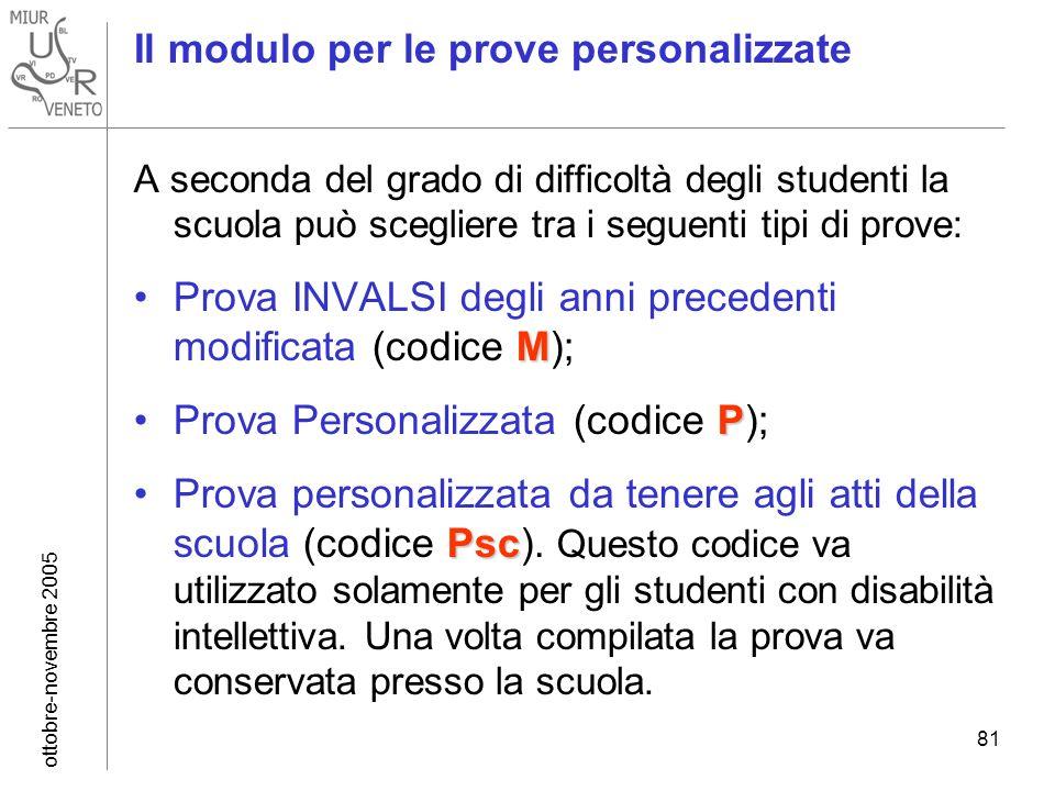 ottobre-novembre 2005 81 Il modulo per le prove personalizzate A seconda del grado di difficoltà degli studenti la scuola può scegliere tra i seguenti