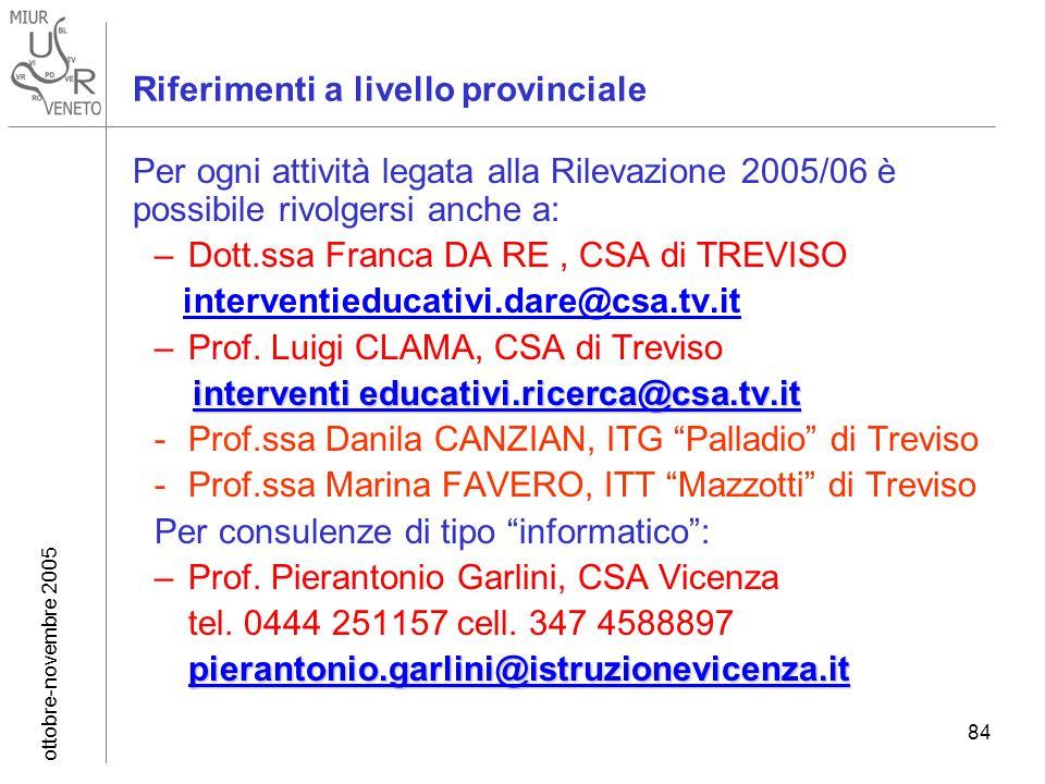 ottobre-novembre 2005 84 Riferimenti a livello provinciale Per ogni attività legata alla Rilevazione 2005/06 è possibile rivolgersi anche a: –Dott.ssa Franca DA RE, CSA di TREVISO interventieducativi.dare@csa.tv.it –Prof.