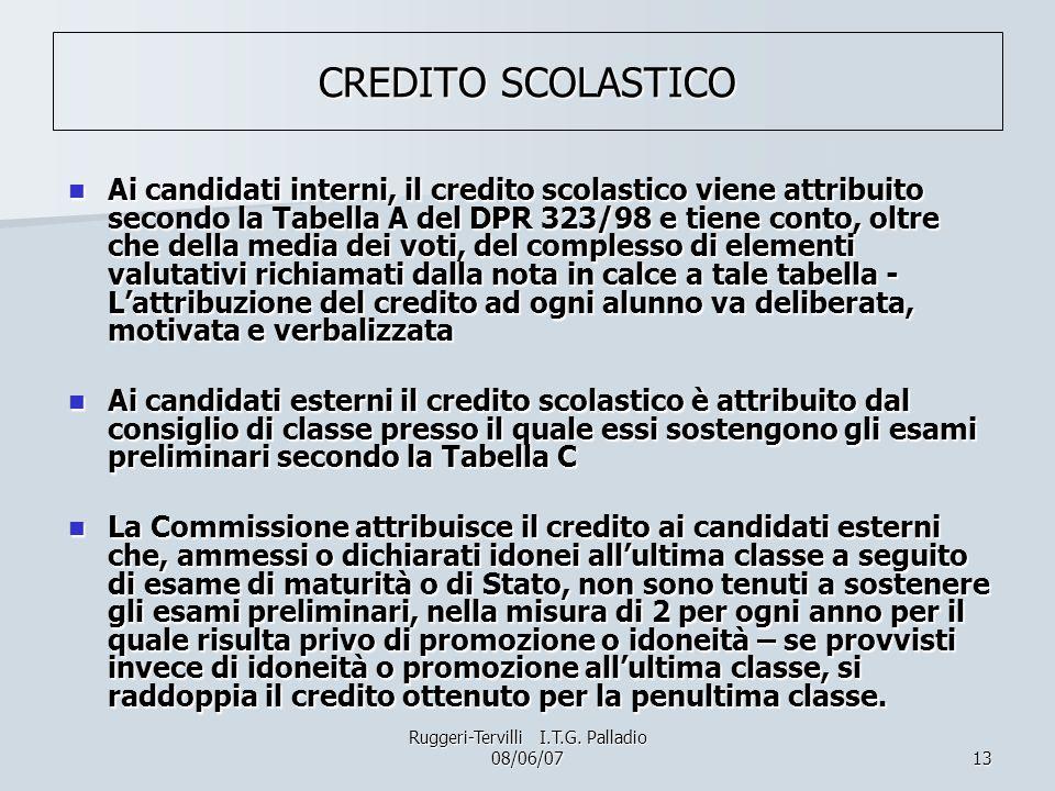 13 CREDITO SCOLASTICO Ai candidati interni, il credito scolastico viene attribuito secondo la Tabella A del DPR 323/98 e tiene conto, oltre che della