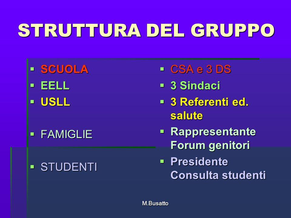 M.Busatto STRUTTURA DEL GRUPPO SCUOLA SCUOLA EELL EELL USLL USLL FAMIGLIE FAMIGLIE STUDENTI STUDENTI CSA e 3 DS CSA e 3 DS 3 Sindaci 3 Sindaci 3 Referenti ed.