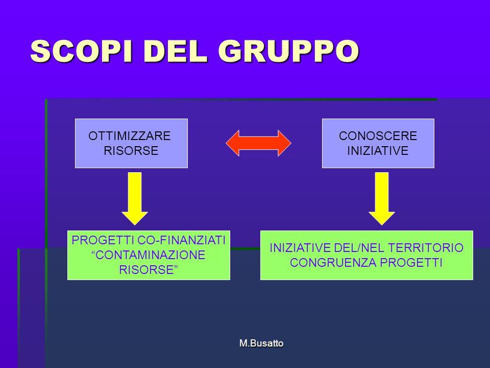 M.Busatto SCOPI DEL GRUPPO OTTIMIZZARE RISORSE CONOSCERE INIZIATIVE INIZIATIVE DEL/NEL TERRITORIO CONGRUENZA PROGETTI PROGETTI CO-FINANZIATI CONTAMINAZIONE RISORSE