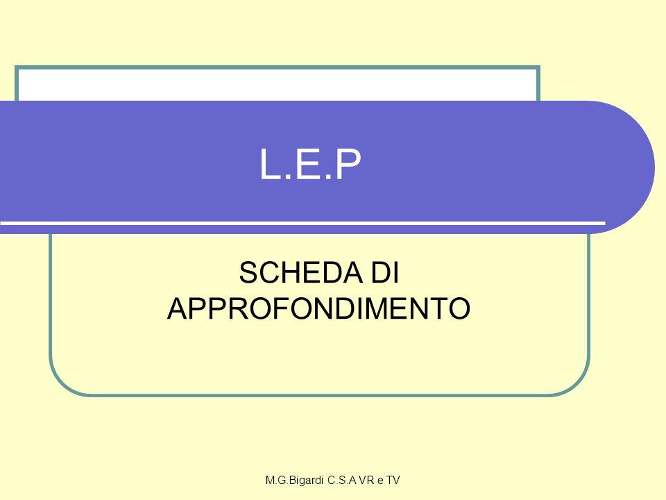 M.G.Bigardi C.S.A VR e TV L.E.P SCHEDA DI APPROFONDIMENTO