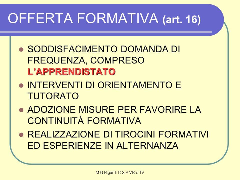 M.G.Bigardi C.S.A VR e TV OFFERTA FORMATIVA (art. 16) LAPPRENDISTATO SODDISFACIMENTO DOMANDA DI FREQUENZA, COMPRESO LAPPRENDISTATO INTERVENTI DI ORIEN