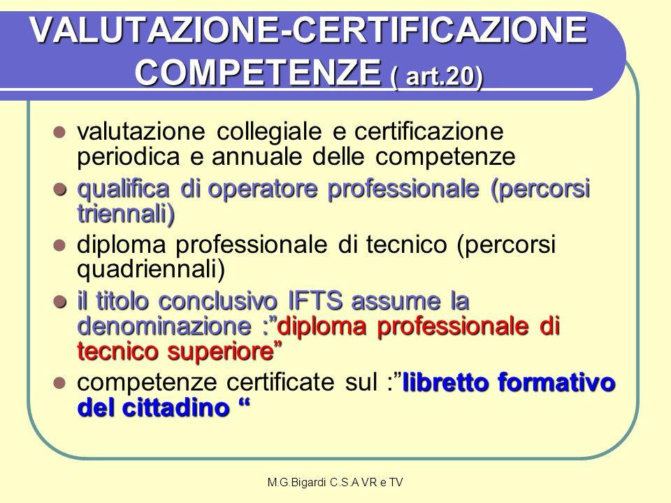 M.G.Bigardi C.S.A VR e TV VALUTAZIONE-CERTIFICAZIONE COMPETENZE ( art.20) valutazione collegiale e certificazione periodica e annuale delle competenze