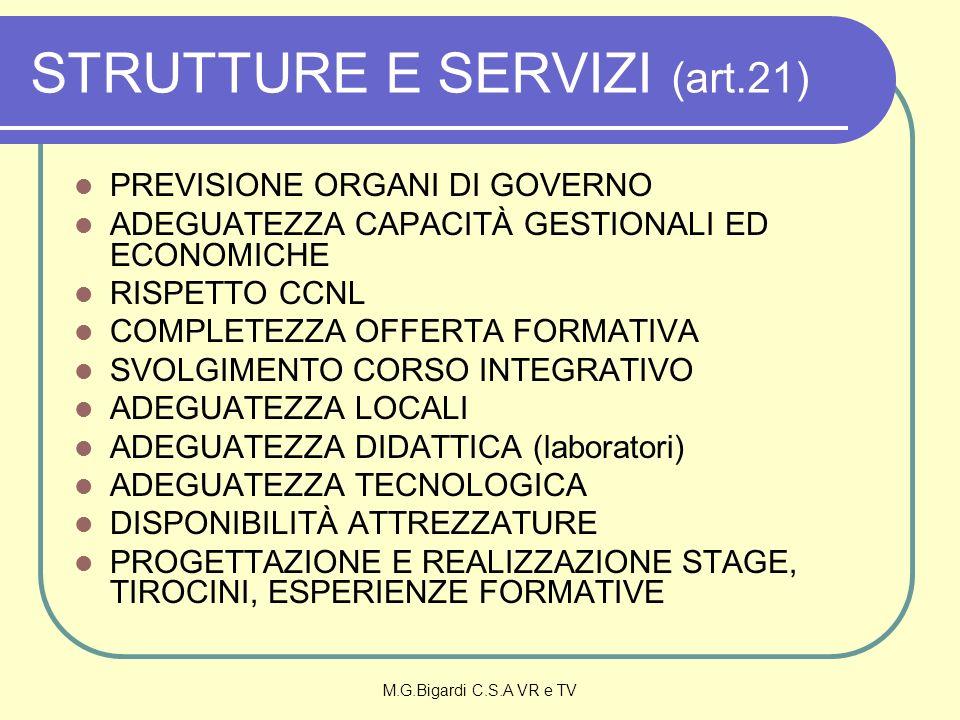 M.G.Bigardi C.S.A VR e TV STRUTTURE E SERVIZI (art.21) PREVISIONE ORGANI DI GOVERNO ADEGUATEZZA CAPACITÀ GESTIONALI ED ECONOMICHE RISPETTO CCNL COMPLE