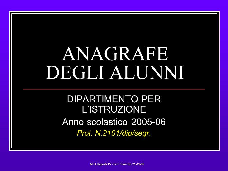 M.G.Bigardi TV conf. Servizio 21-11-05 ANAGRAFE DEGLI ALUNNI DIPARTIMENTO PER LISTRUZIONE Anno scolastico 2005-06 Prot. N.2101/dip/segr.