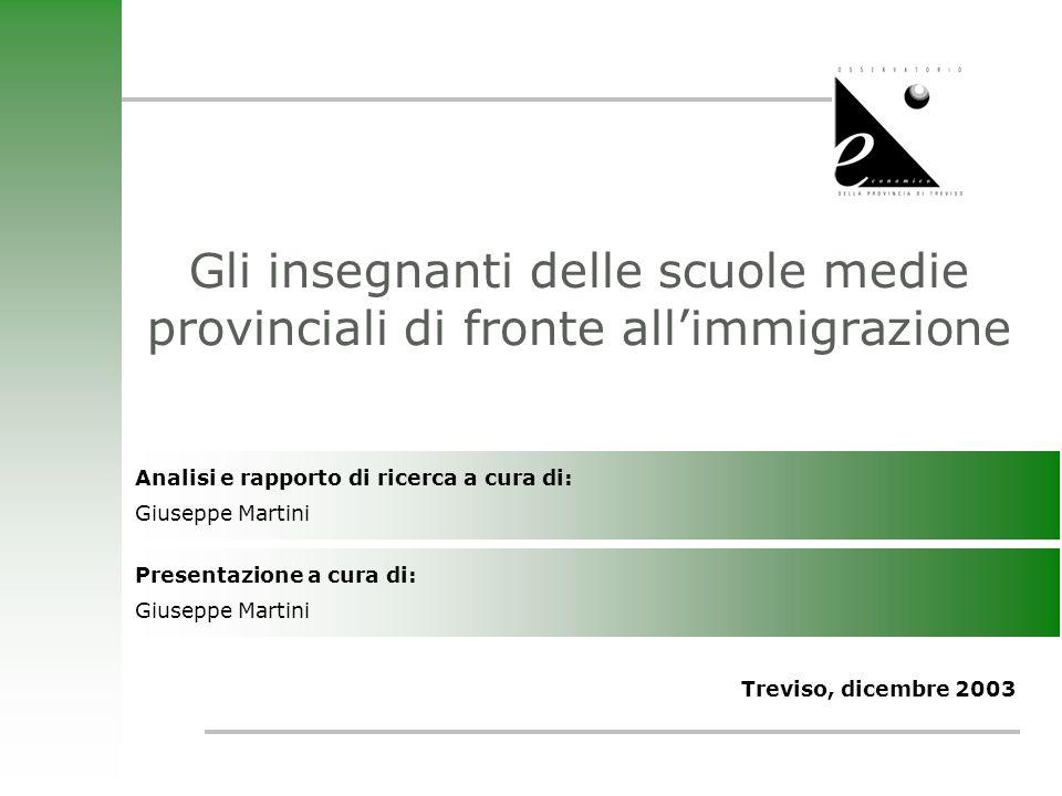 Treviso, Dicembre 2003 12 Il livello di preparazione delle Istituzioni per favorire lintegrazione degli alunni extracomunitari